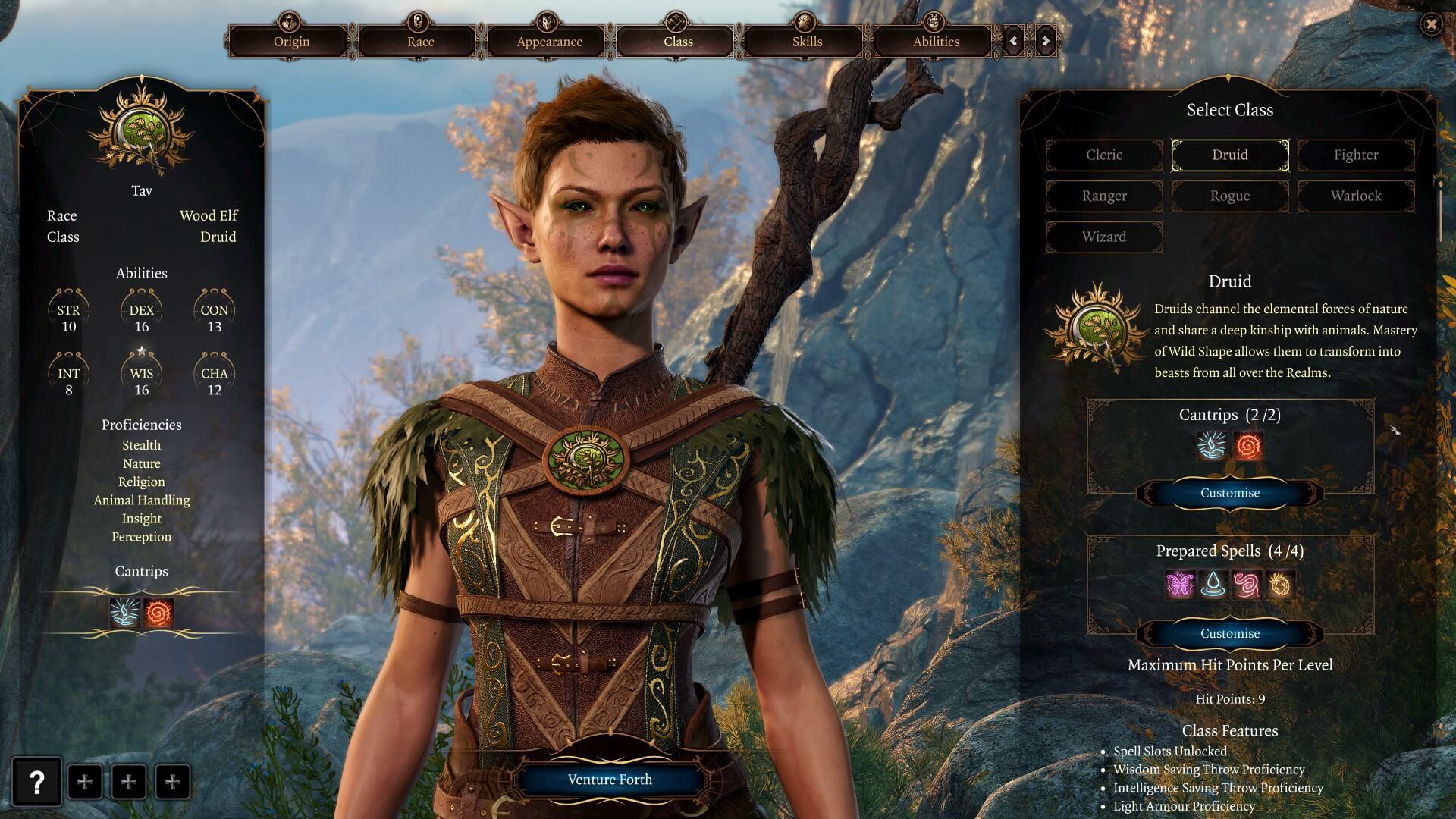 Il Druido è la nuova classe all'interno della creazione personaggio di Baldur's Gate 3.