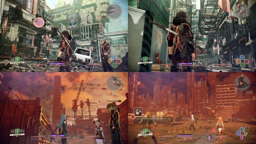 Quattro screenshoots differenti presi da Scarlet Nexus con i due personaggi principale, Yuito e Kasane.