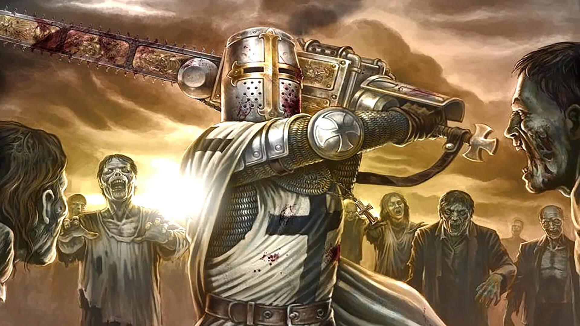 Un Templare contro degli zombie in Sine Requie.