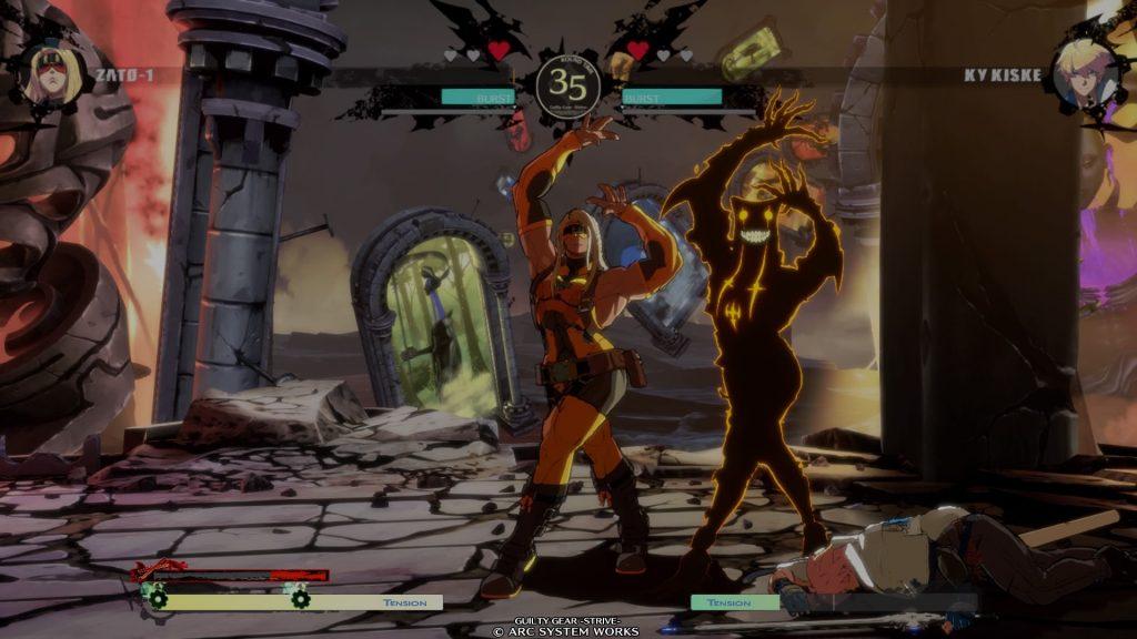 Zato di Guilty Gear Strive che si mette in posa concluso il combattimento.