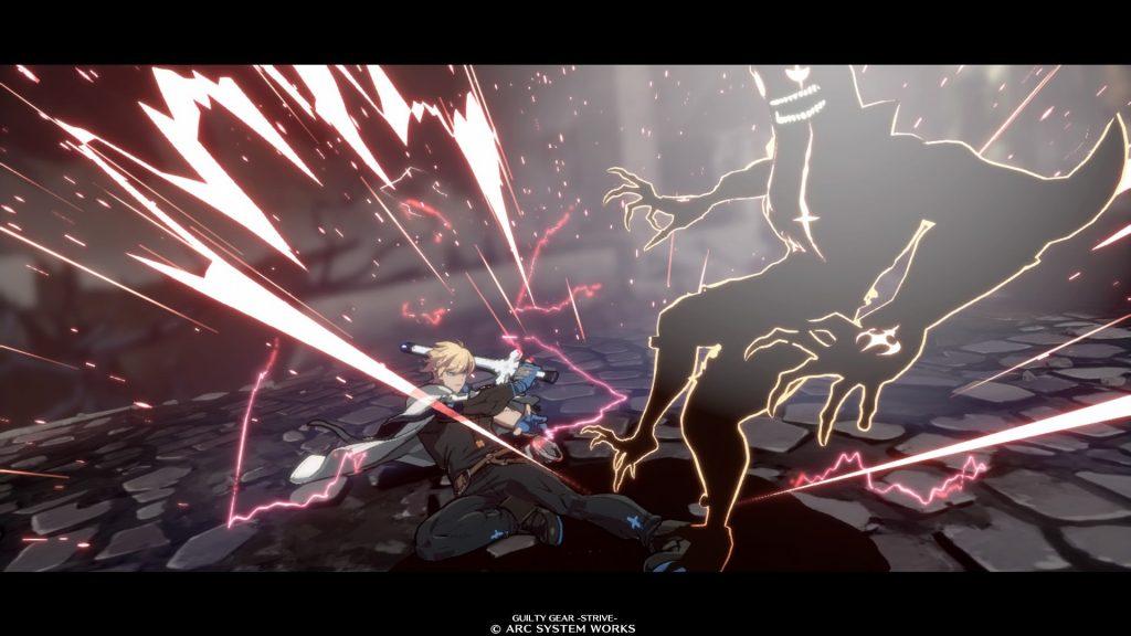 Scena finale di battaglia in Guilty Gear Strive in uno scontro tra Zato e Ky
