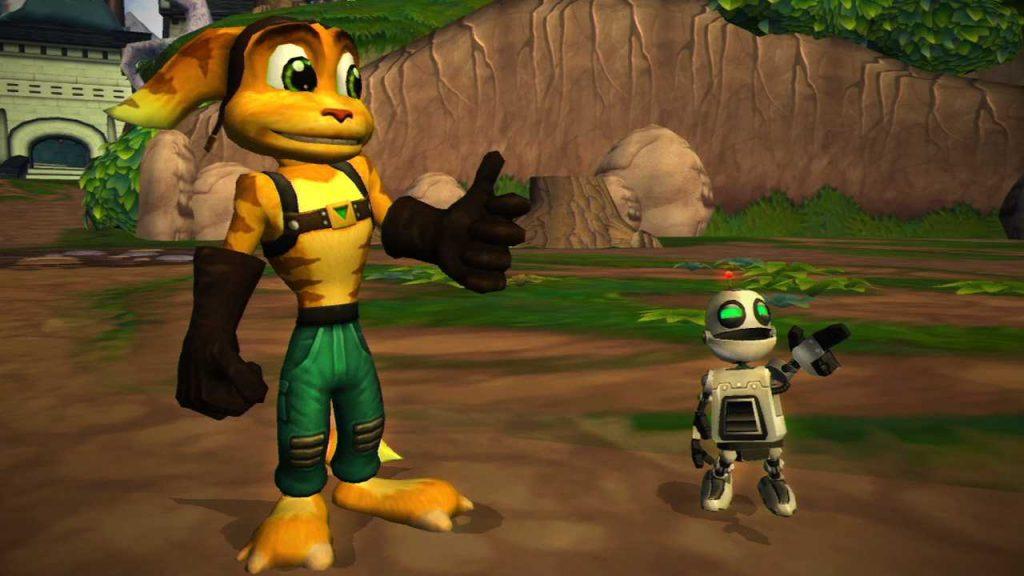 Una scena comica del primo Ratchet and Clank di Insomniac Games pubblicato per Playstation 2 nel 2002.