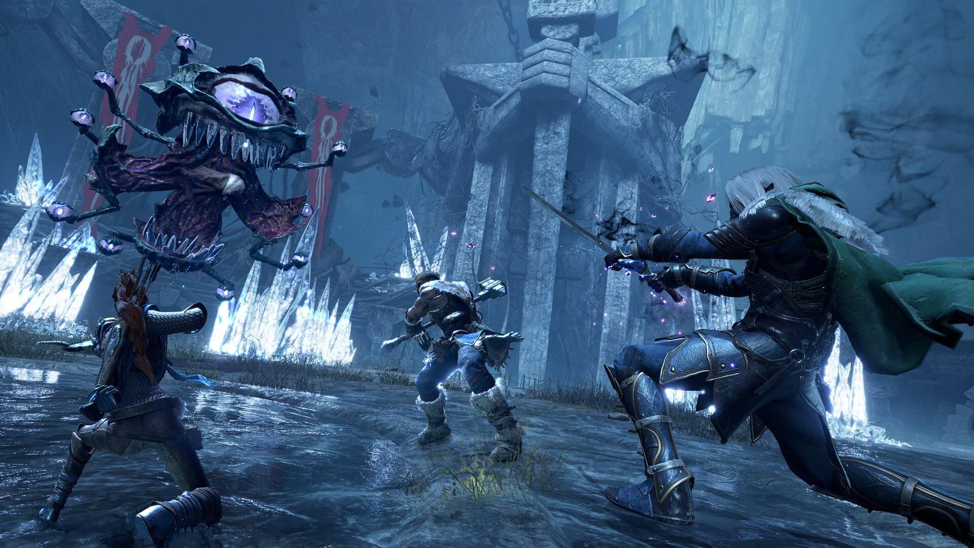 Il party di Dungeons & Dragons: Dark Alliance contro un nemico: Drizzt, Wulfgar, Cattie-brie e Bruenor.