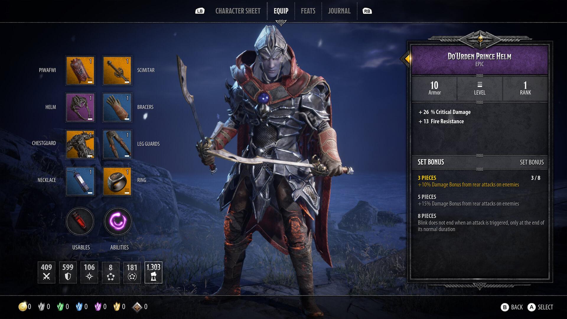 La schermata d'equipaggiamento del personaggio è semplice e intuitiva.