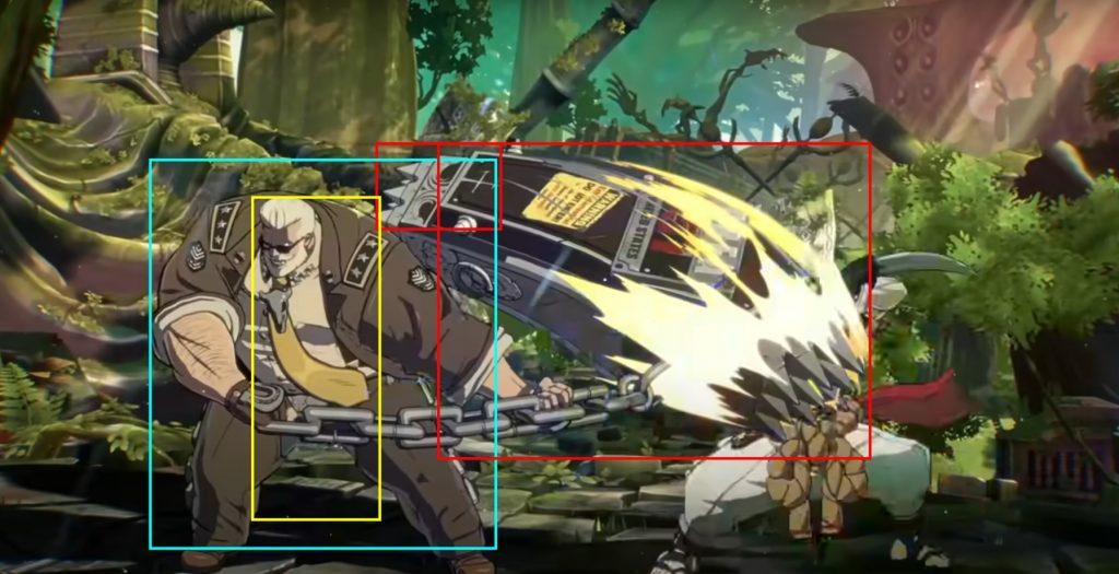 Immagine che indica con tre riguardi differenti i range dell'attacco Behemot Typhoon di Goldlewis Dickinson in Guilty Gear Strive