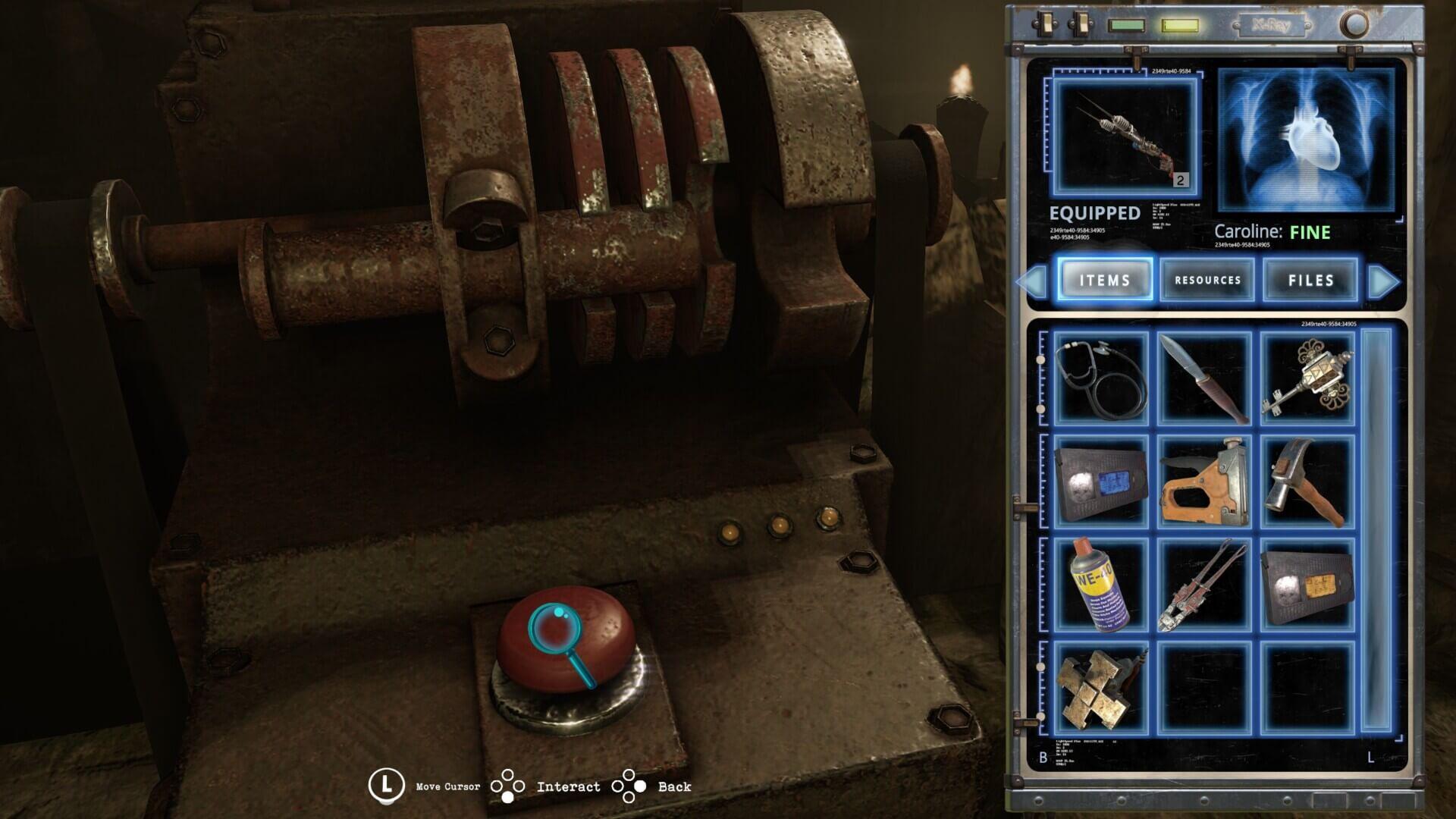 L'inventario di Tormented Souls, con la schermata di interazione con gli oggetti.